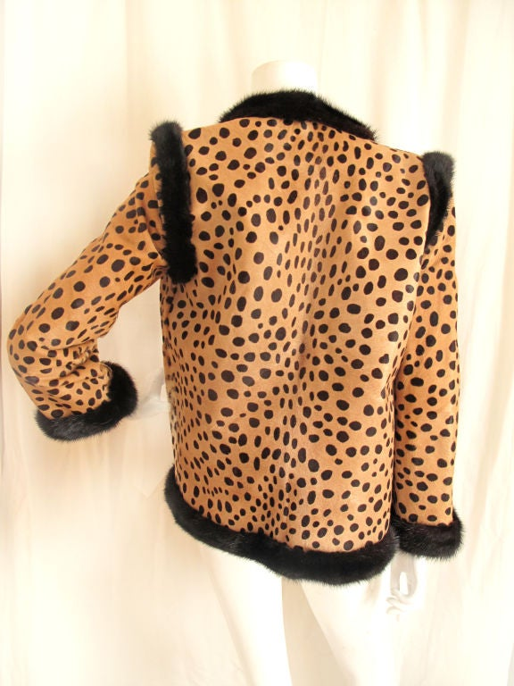 BILL BLASS Leopard Printed Pony & Mink Coat 3