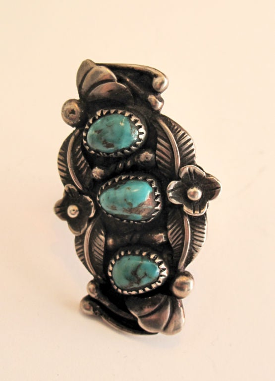 Ornate American Indian Turquoise Ring 2
