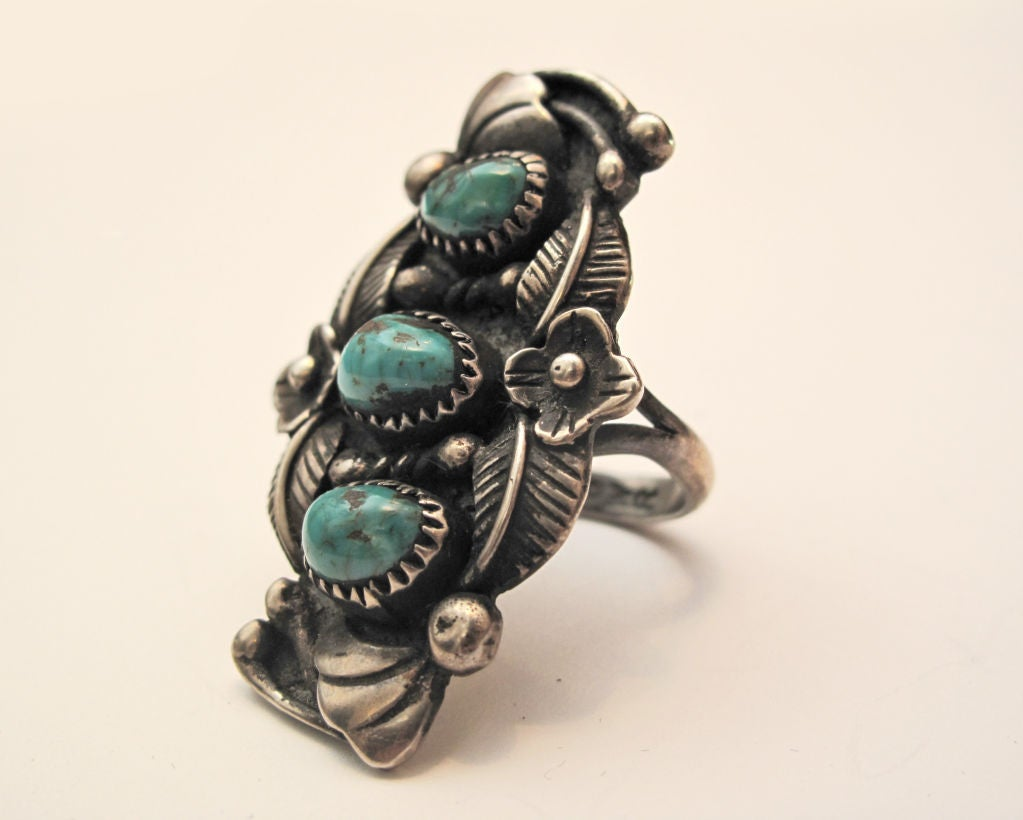 Ornate American Indian Turquoise Ring 3