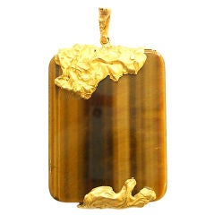 18k Gold and Tiger's Eye Pendant, French, Circa 1970