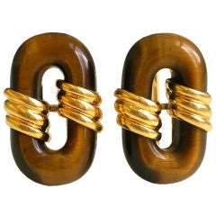 18k Gold and Tiger's Eye Cufflinks by Cartier, circa 1970