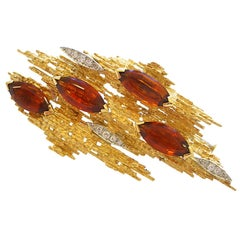A Gold, Diamond and Citrine Brooch by ANDREW GRIMA, c1965