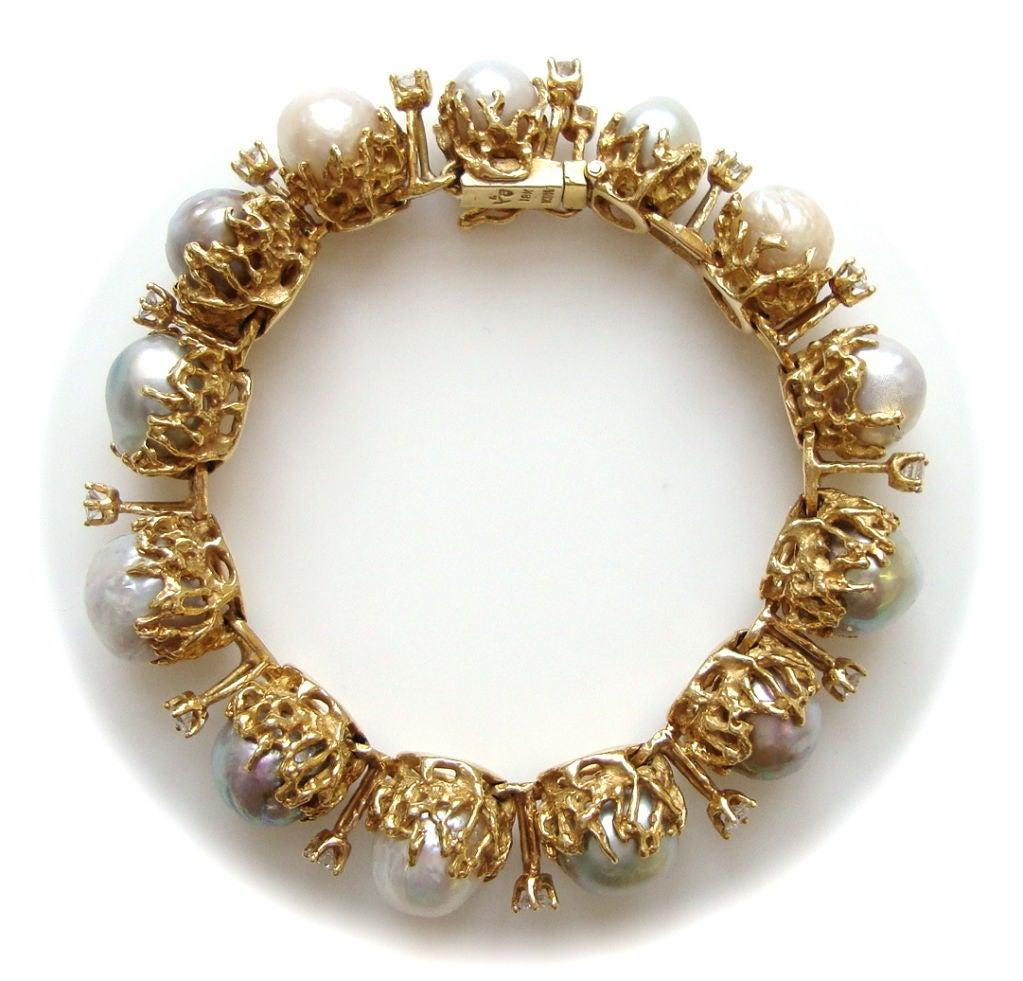 ARTHUR KING, 18k Pearl and Diamond Bracelet, circa 1970 2