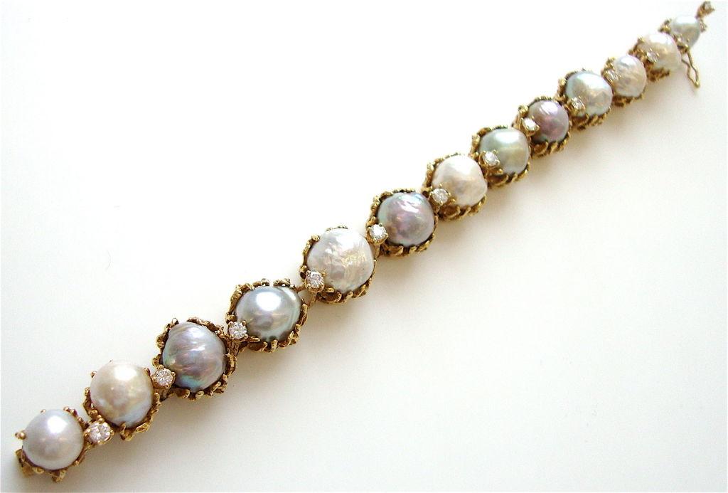 ARTHUR KING, 18k Pearl and Diamond Bracelet, circa 1970 3