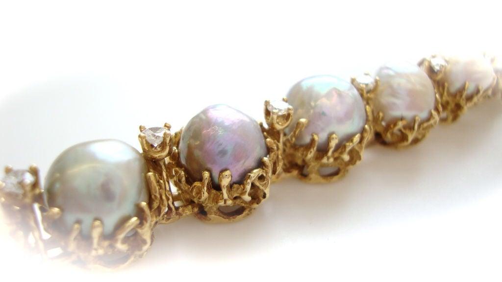 ARTHUR KING, 18k Pearl and Diamond Bracelet, circa 1970 4