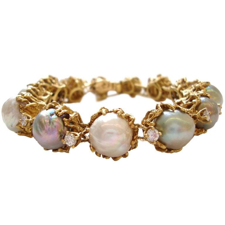 ARTHUR KING, 18k Pearl and Diamond Bracelet, circa 1970 1
