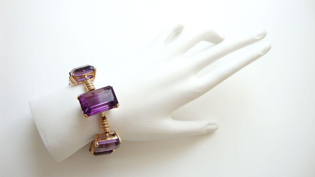 18k Gold and Amethyst Retro Bracelet, c 1945 5