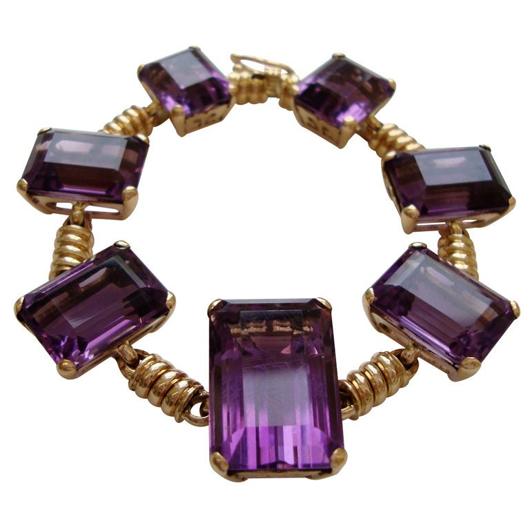 18k Gold and Amethyst Retro Bracelet, c 1945 1