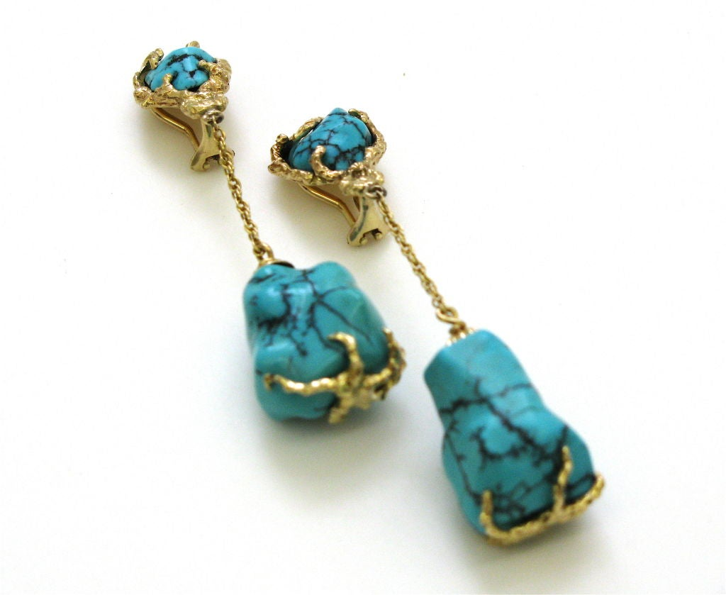 gold and turquoise drop earrings circa 1960 signed at. Black Bedroom Furniture Sets. Home Design Ideas