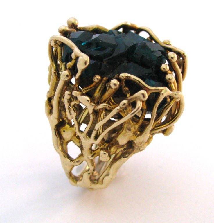 gold and emerald ring circa 1970 unique at 1stdibs