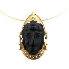 CARTIER , Obsidian Tribal Pendant with Neck-wire, c1960