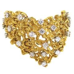 A Modernist Freeform Diamond and Gold Bracelet c1970