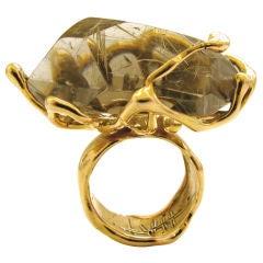 LUCIFER VIR HONESTUS A Massive Gold and Rutilated Quartz RIng