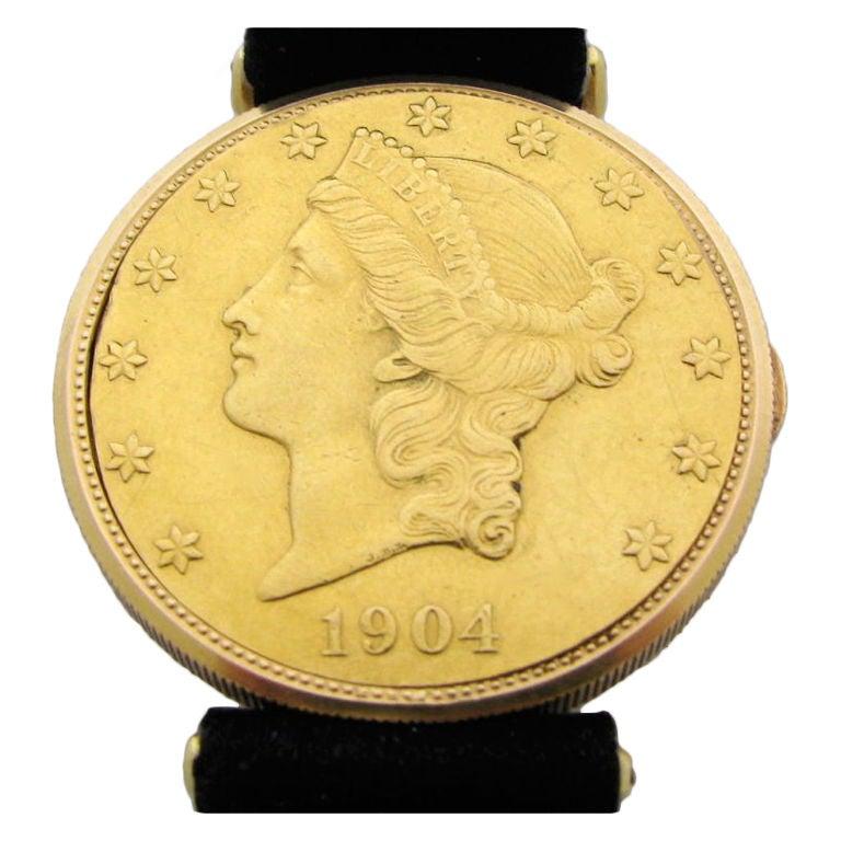 corum yellow gold coin wristwatch circa 1990s at 1stdibs