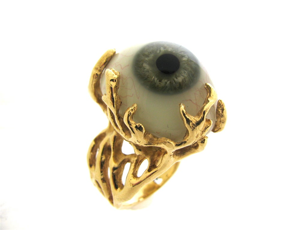 Glass Eye and Gold Ring c1970 2