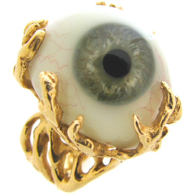 Glass Eye and Gold Ring c1970 1