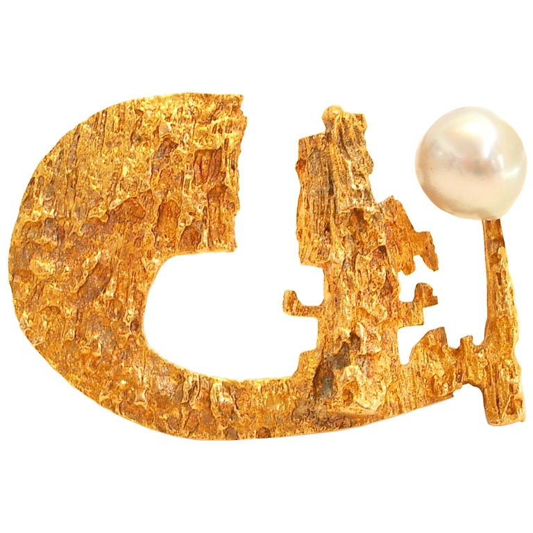 BJORN WECKSTROM for LAPPONIA, Gold and Pearl Brooch,1967