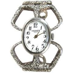 HERMES, A Sterling Silver Wristwatch, c1960