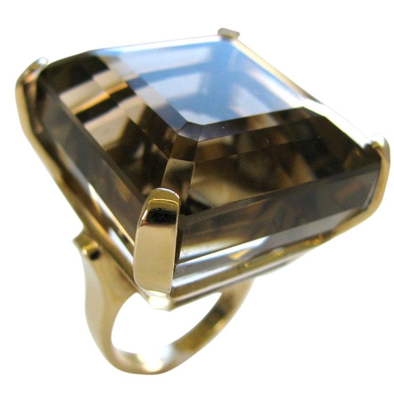 A Massive Gold and Smoky Quartz Retro Ring c 1945
