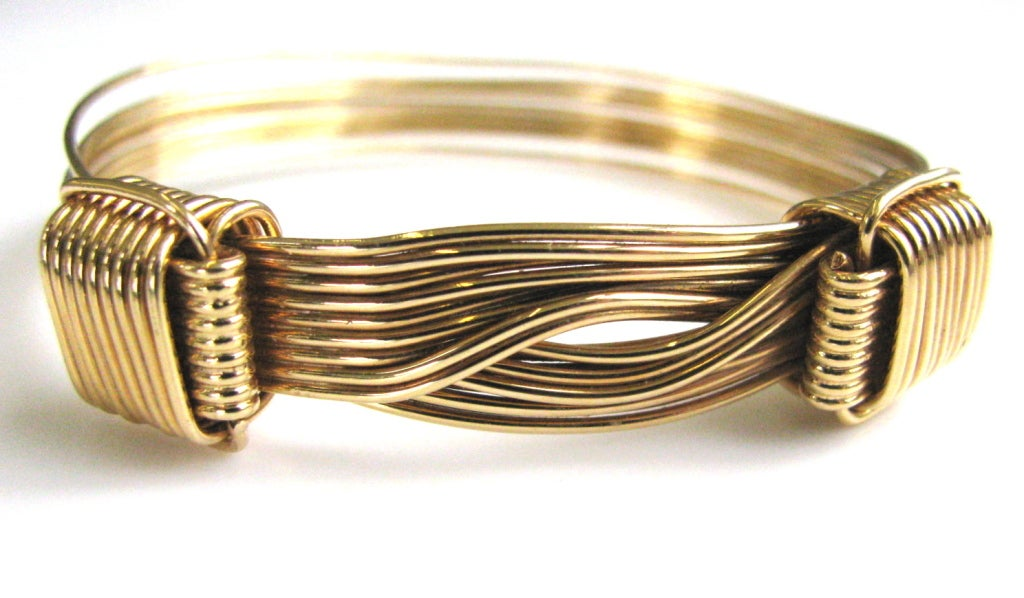 gucci gold elephant hair bangle bracelet at 1stdibs