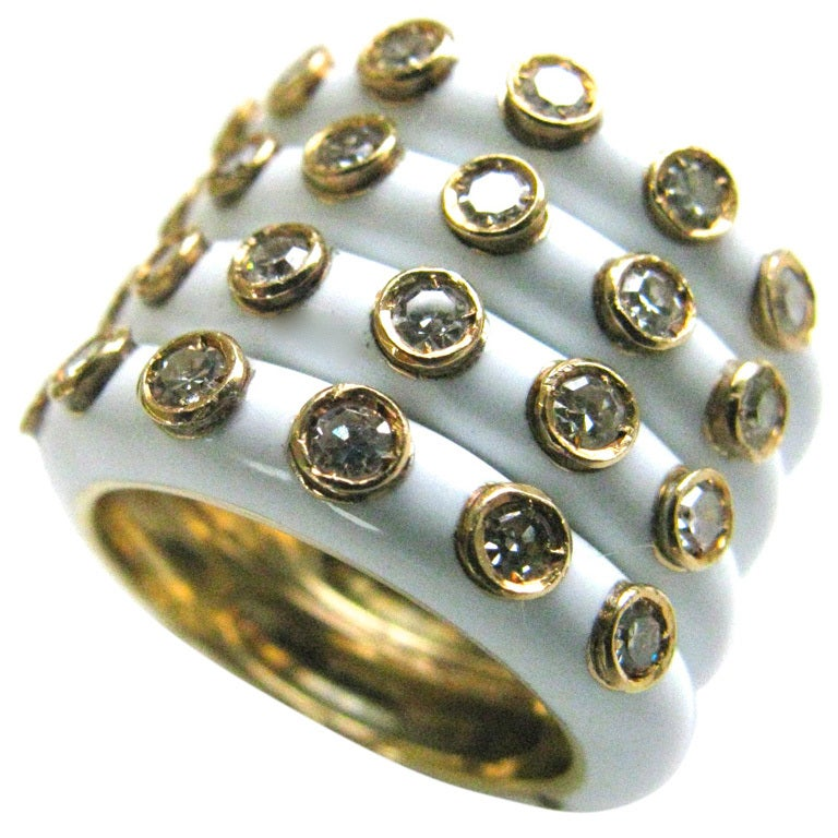 Christian Dior A Gold Enamel And Diamond Band Ring At