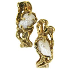 Arthur King Pearl Gold Cufflinks, circa 1970