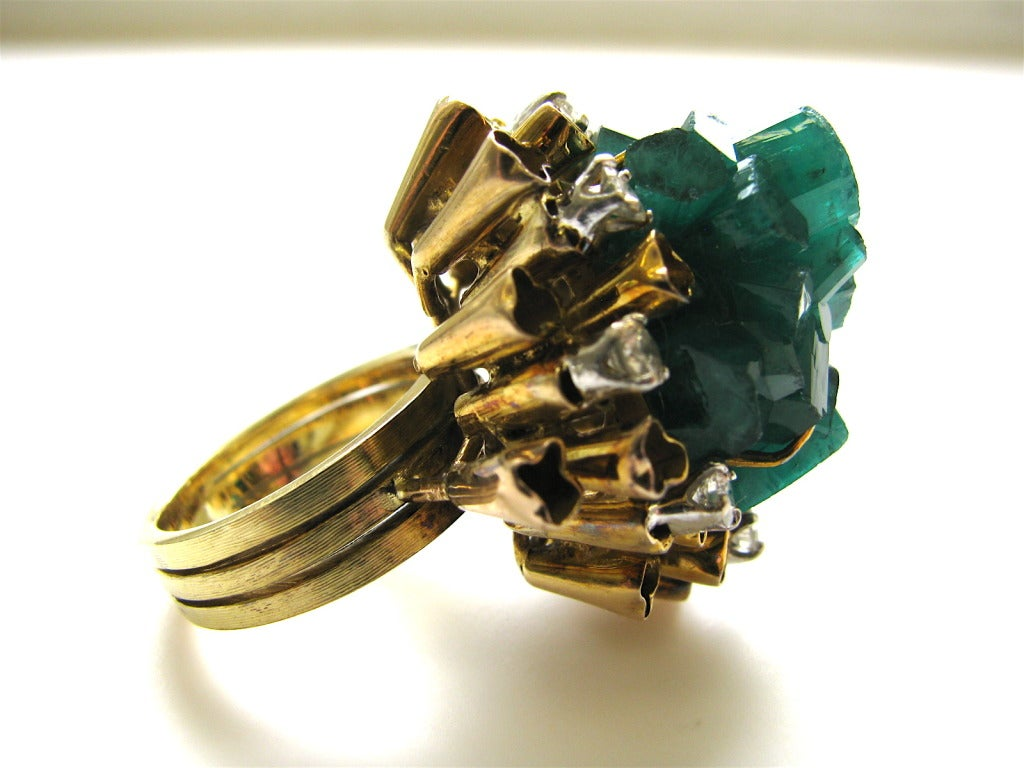 chatham made emerald and gold cocktail ring c1960 at
