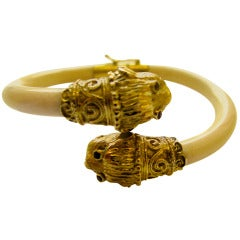 Ivory Gold Animal Head Bracelet c1960