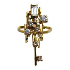 Jean Vendome, A Gold and Diamond Ring, c 1970
