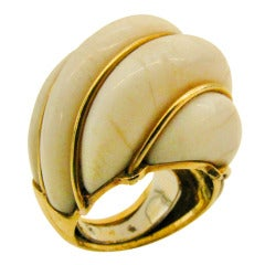 A Gold and Ivory Bombe Ring c1960