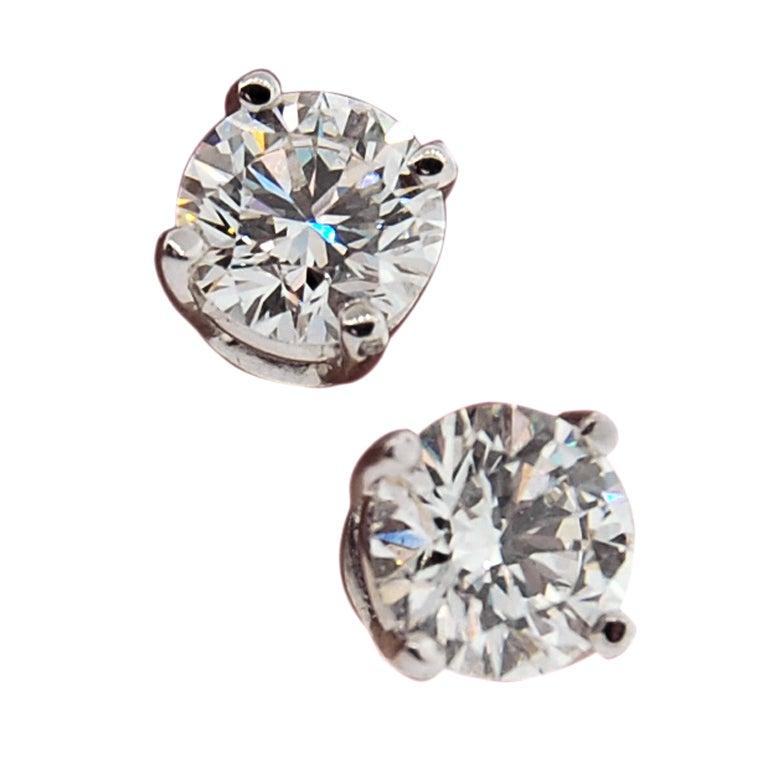 Tiffany And Co Platinum 2 Carat Diamond Stud Earrings At