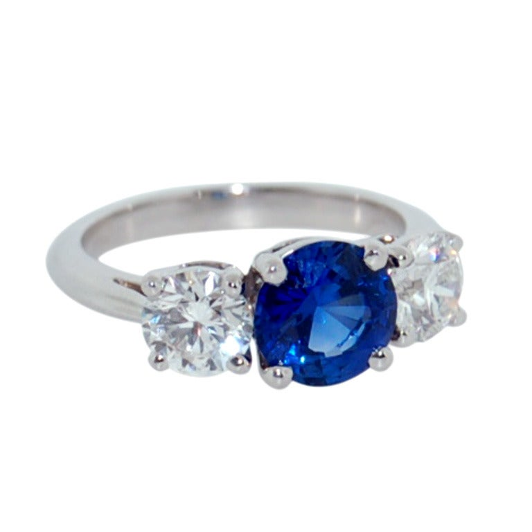 TIFFANY and CO Platinum 3 06 TCW Sapphire and Diamond Ring at 1stdibs