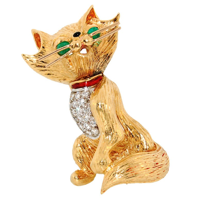 Kutchinsky London Diamond Gold Cat Brooch At 1stdibs