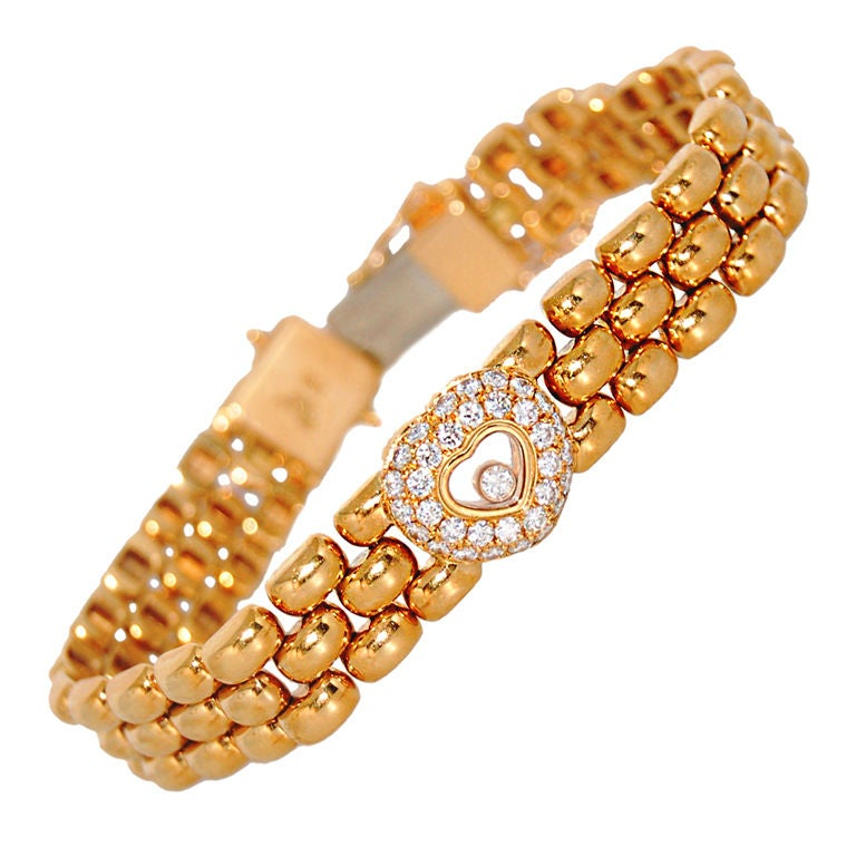 Chopard Gold Happy Diamond Bracelet at 1stdibs