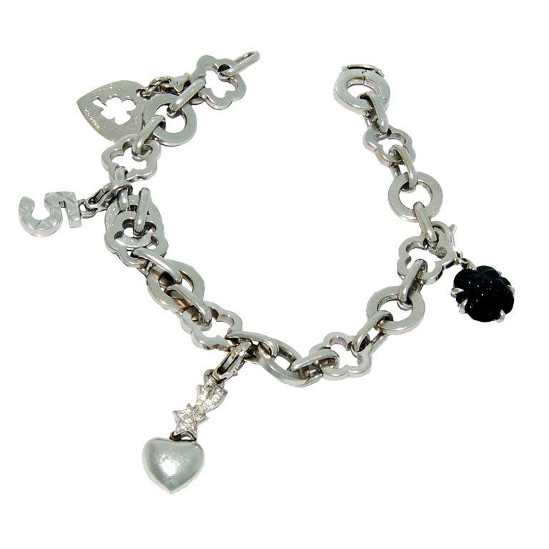 chanel white gold mademoiselle charm bracelet at 1stdibs
