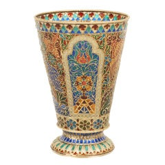 Antique Russian Plique-à-Jour Enamel Beaker by Ovchinnikov