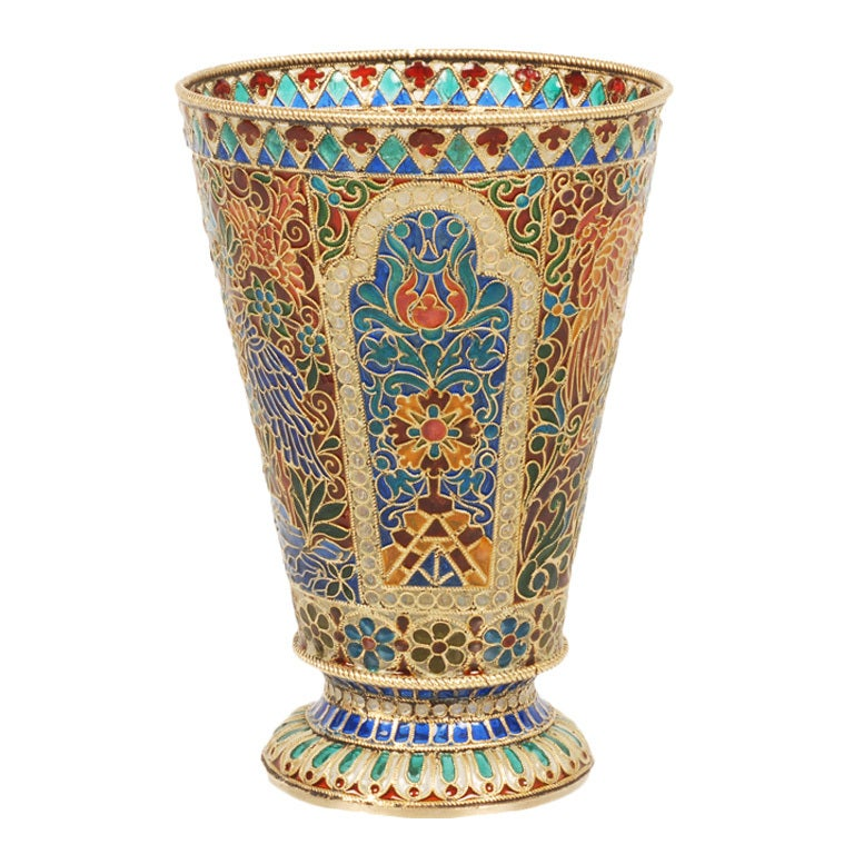 Antique Russian Plique-à-Jour Enamel Beaker by Ovchinnikov