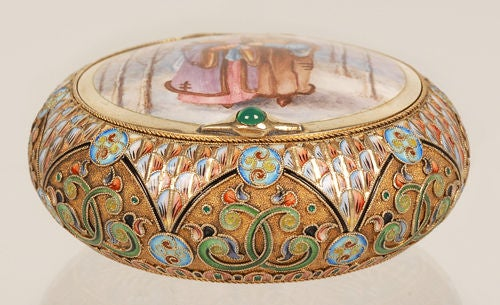 Antique Russian Revival 11th Artel Pictorial Powder or Snuffbox In Excellent Condition For Sale In Redmond, WA