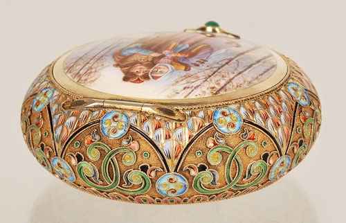 Antique Russian Revival 11th Artel Pictorial Powder or Snuffbox For Sale 1
