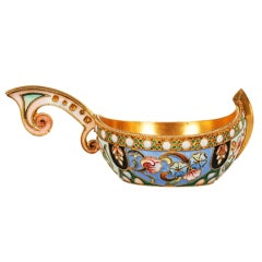 Antique Russian Art Nouveau Shaded Cloisonné Enamel Kovsh by the 11th Artel