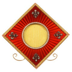 Fabergé Wigström Jeweled Two-Color Gold and Red Guilloché Enamel Photo Frame