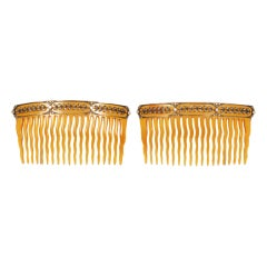 FABERGE Pair of Tortoise Shell Hair Combs