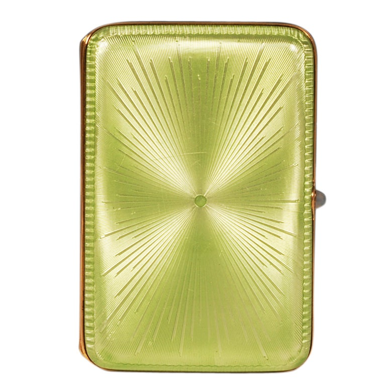 Fabergé Imperial Russian Apple Green Guilloché Enamel Case by Perchin