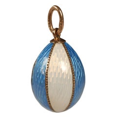 Antique Russian Gold, Blue and White Enamel Pendant Egg