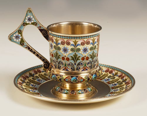 Rare Antique Russian Shaded Cloisonné Enamel Cup and Saucer by Khlebnikov For Sale 2