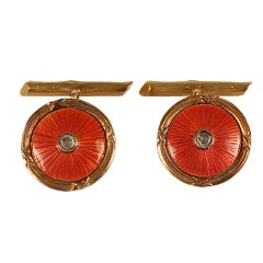 Antique Russian Diamond, Gold and Pink Enamel Cufflinks
