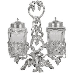 Russian Silver and Cut-Glass Condiment Set