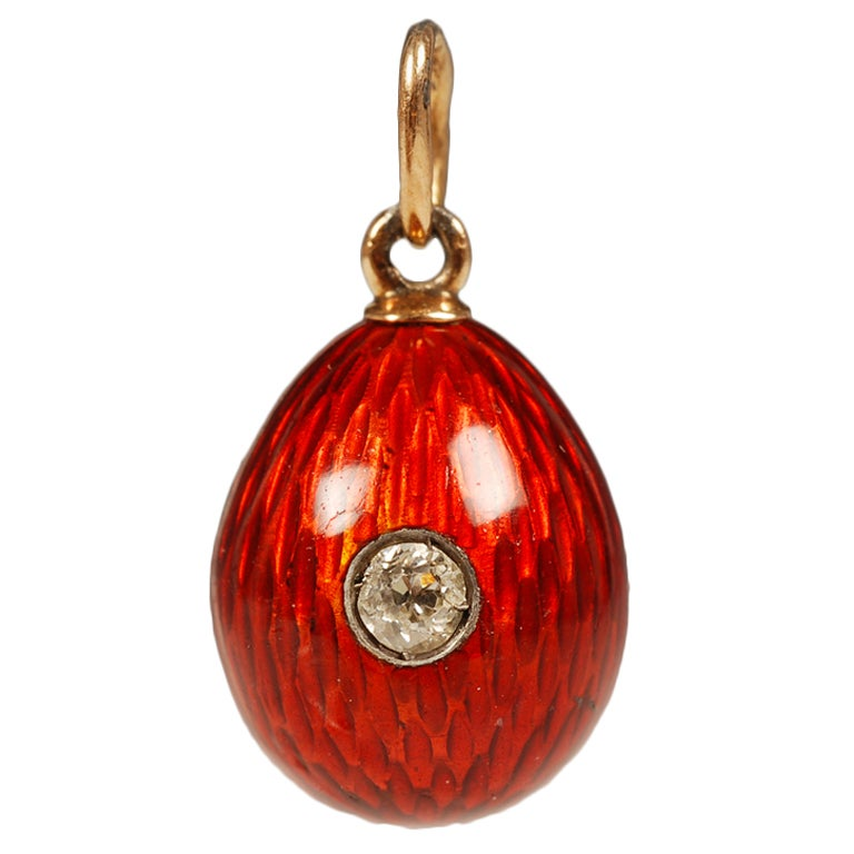FABERGE Gold and Enamel Pendant Egg For Sale