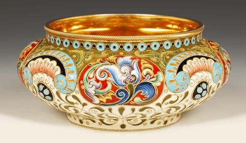 Antique Russian Revival Style Shaded Cloisonné Enamel Bowl by Feodor Rückert In Excellent Condition For Sale In Redmond, WA