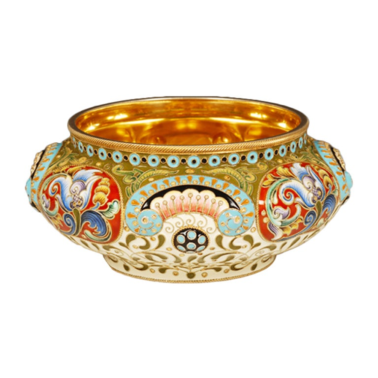 Antique Russian Revival Style Shaded Cloisonné Enamel Bowl by Feodor Rückert For Sale